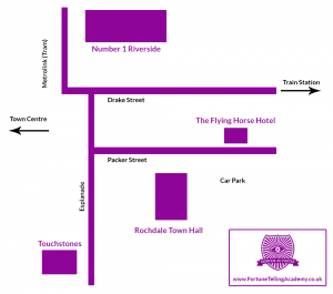 Map of Rochdale Town Hall, The Flying Horse Hotel, Touchstones, Riverside for Dippy The Dinosaur visit 2020